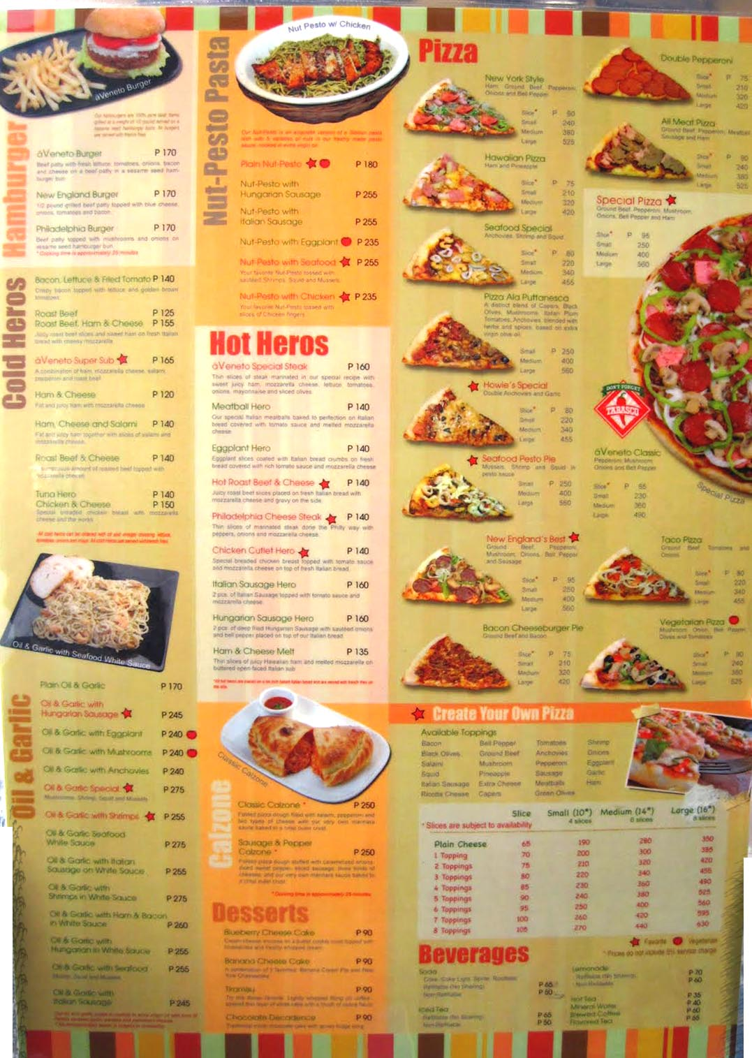A Picture Of Their Menu Lots Dishes To Choose From