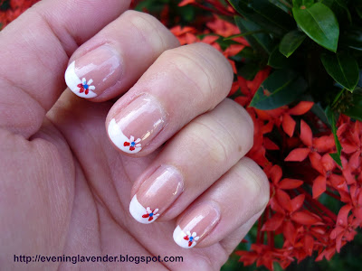 Today I Want To Share With You French Manicure A Little Floral Design Notice That Have Trimmed My Long Nails