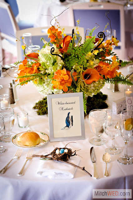 Natural Centerpieces - Orange and Yellow - Splendid Stems Floral Designs - Otesaga Resort Wedding