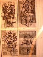 Performance expressive Motionspaintings on News Paper from the happenings of the Moment on airport