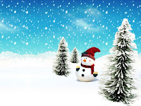 Snowman snow flakes X-mas wallpaper