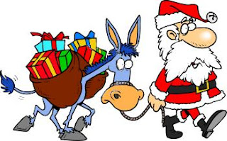Santa Claus with a donkey