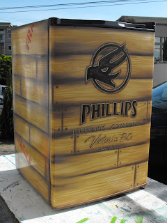 Giveaway beer fridge for Phillips Brewery air brushed Phillips brewing company logo Dobell signs Victoria Vancouver island Canada traditional signage dobell designs