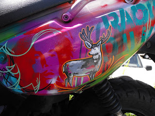 Custom hand painted scooter of death by Chris Dobell of Dobell Signs Victoria Vancouver island Canada