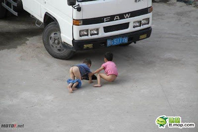 Meaning of picture : Nowadays, The new generation child don't play hide and seek.