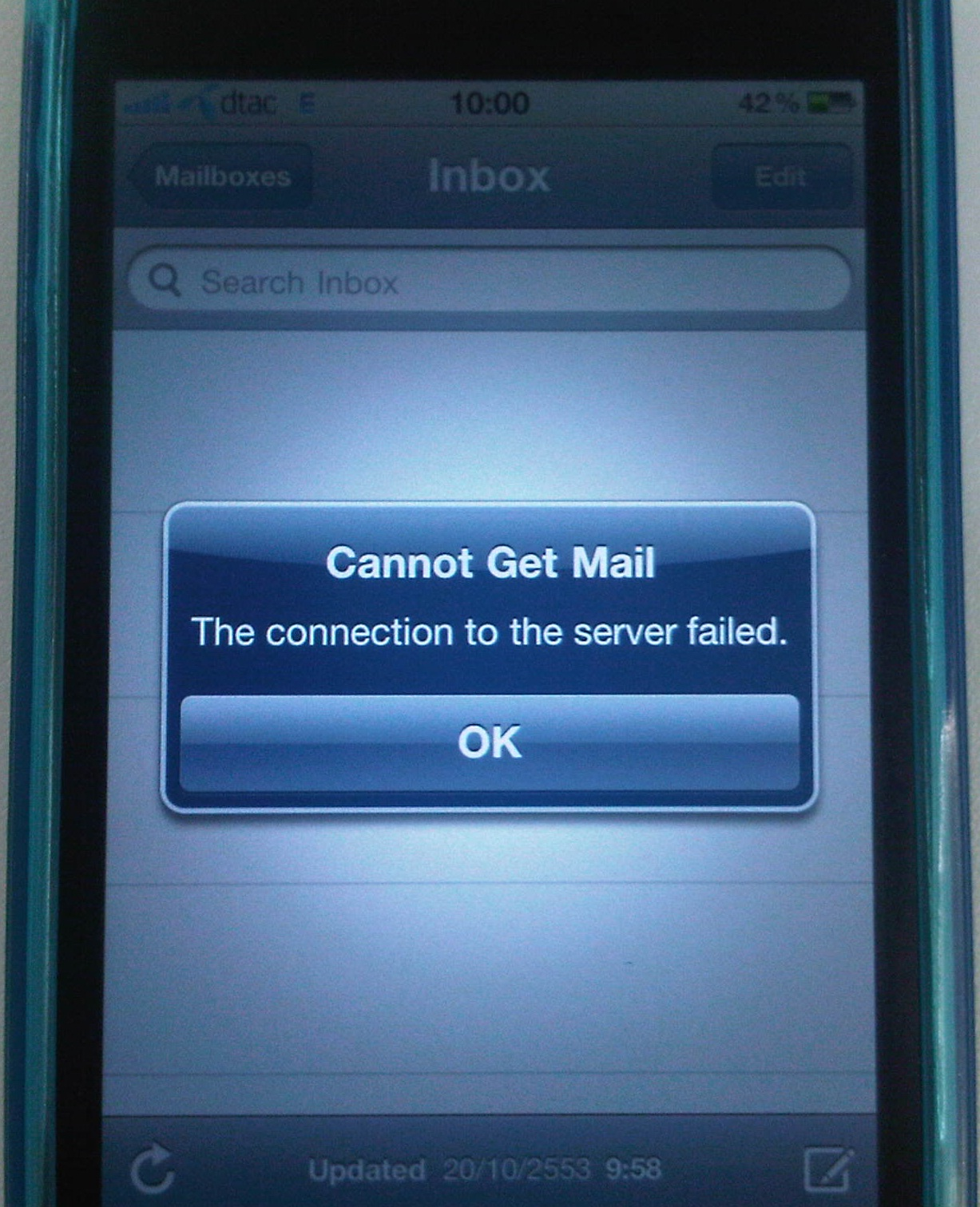 knowledge base   iphone   cannot get mail the connection