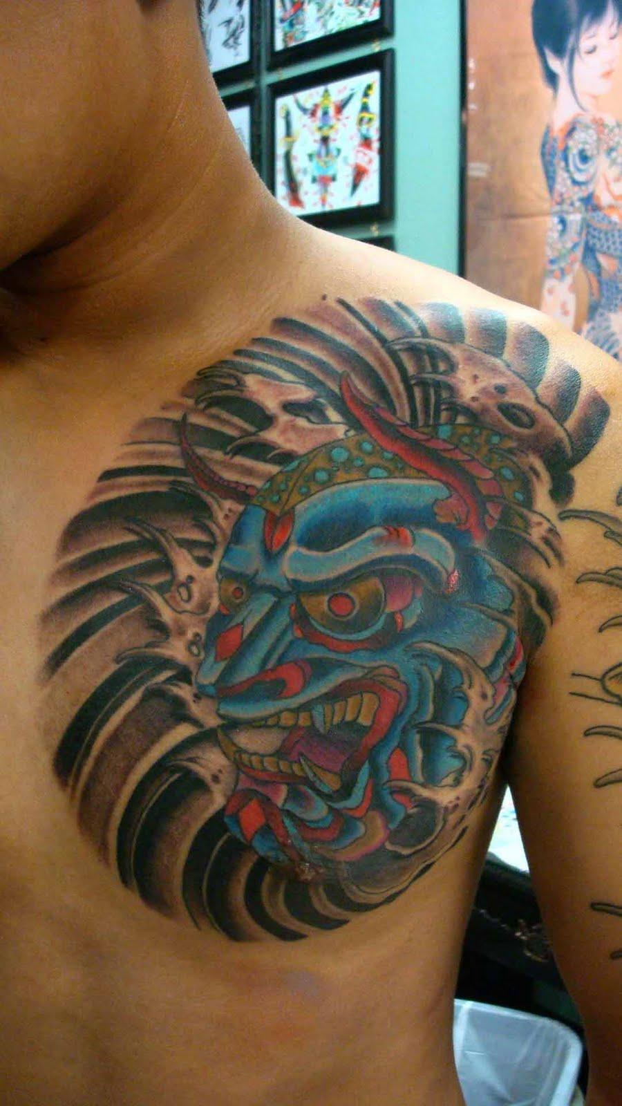 Top Hannya Tattoo Chest Images for Pinterest Tattoos
