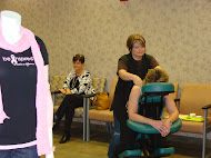 MASSAGE THERAPIST SHELLY SMITH OFFERED COMPLIMENTARY NECK AND SHOULDER MASSAGES