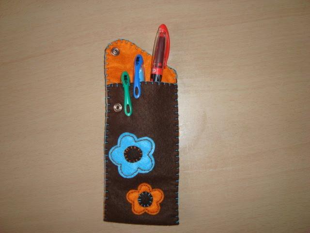 bolsa canetas feltro