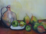 My first painting. Study of Paul Cezanne's Pitcher, Fruit and Plate