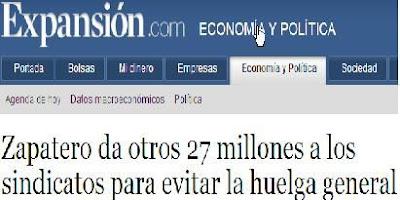 Zapatero da 27 millones de euros a los sindicatos para evitar la huelga general