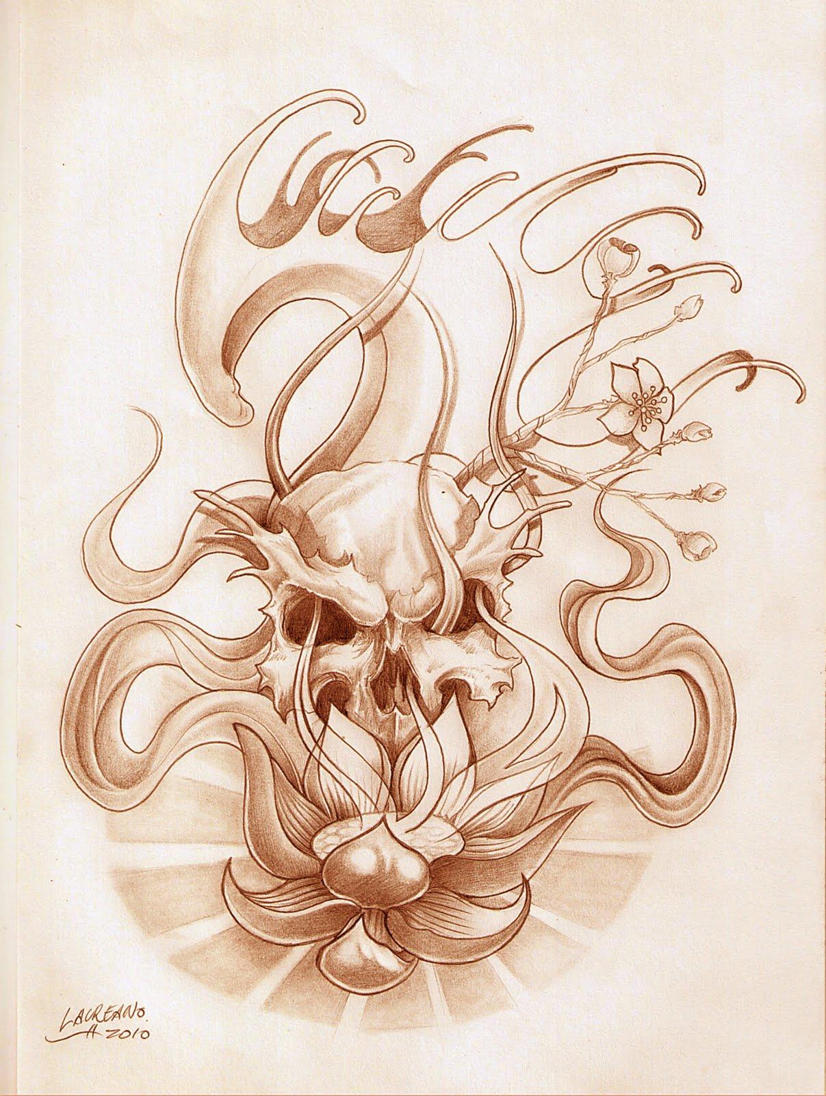 Diseño Tatuaje Calavera Flor de Loto