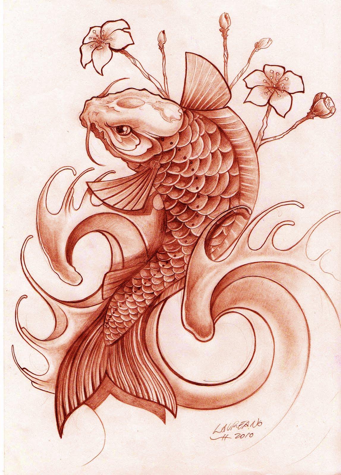 Lorien Tattoo: Pez Koi Diseño Tatuaje. Koi Fish.
