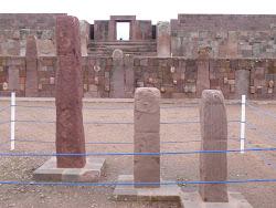 Sundials, Templete Semisubterraneo at Tiwanaku with Templo de Kalasasaya behind