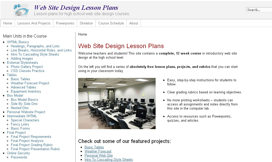 Educational technology guy free lessons for high school web design classes for Web design lesson plans for high school
