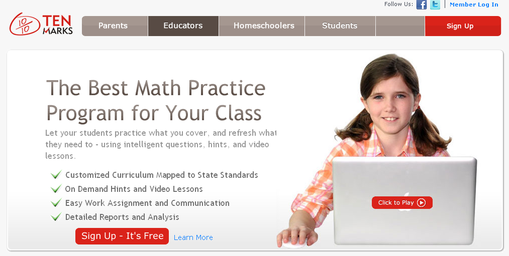 Educational Technology Guy: TenMarks - FREE math practice resource