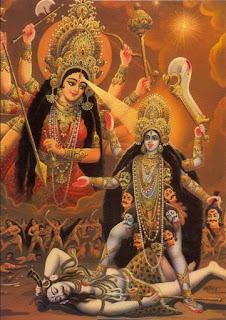 durga goddess in mahaa kaali avatar walking over siva