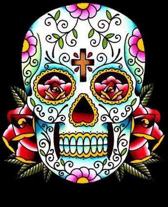 Photo Tattoo un crâne mexicain Calavera aux couleurs  - tatouage de crane mexicain
