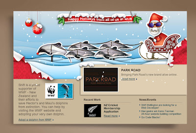 Shift's Christmas hompage.
