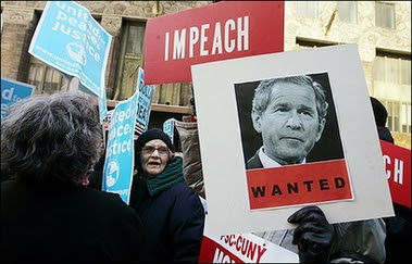 Impeach Bush posters.