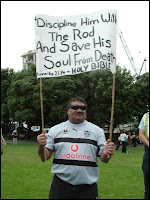 Pro-smacking banner: Discipline him with the rod and save his soul from death.