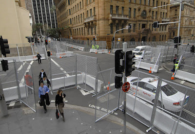 Deserted and fenced-in streets of Sydney.
