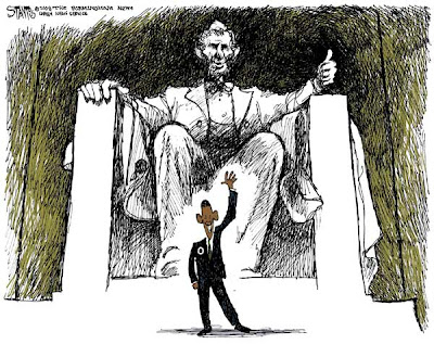The statue of Abraham Lincoln sits with its left thumb raised in a 'thumbs-up' signal. A grinning Barack Obama stands in front of Lincoln, waving at the viewer.