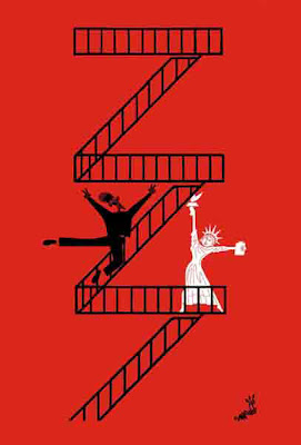 A joyful Obama and Lady Liberty dance up a zig-zag set of fire-escape stairs.