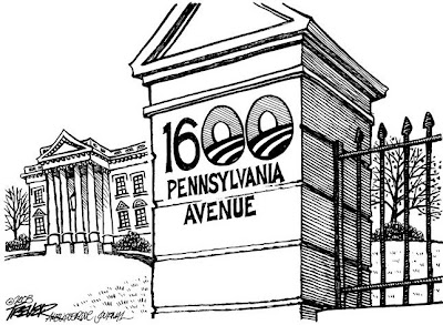 President Obama cartoon: A view of the front gates at 1600 Pennsylvania Avenue - with the two zeros having been replaced with the circular Obama logo.
