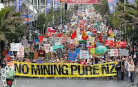 40,000 people in Auckland demonstrated against the government's mining plans in May.
