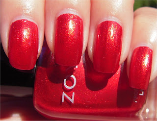 bright red sparkle nail art
