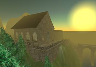 Cyberspace-3d virtual reality - St Benedict Monastery at sunset