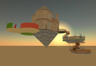 second life - building floating in the sky