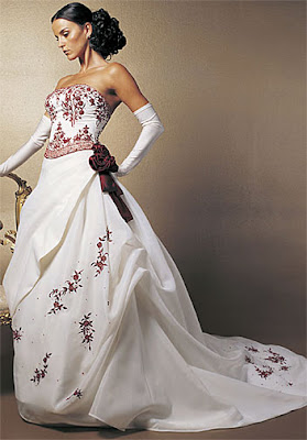 Elegant Wedding Dress Long Beautiful Cool White With Wine Color Flowers