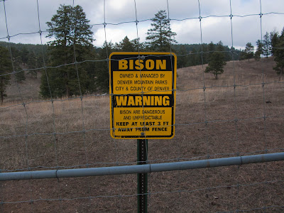 Bison Warning Sign