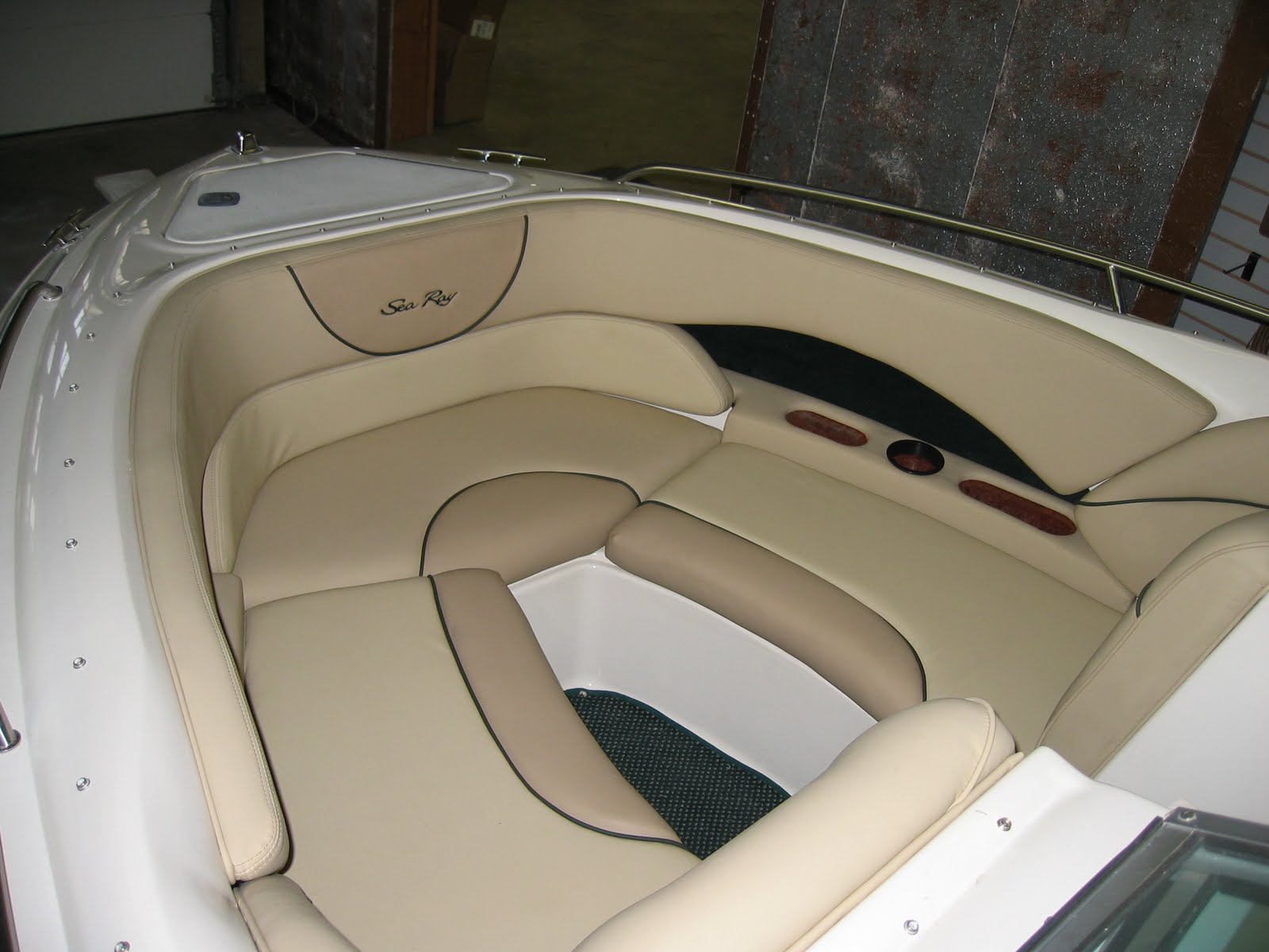 Genial We Recovered This Boat Interior With Three Colors Of Marine Vinyl And Added  Dark Green Embroidery As A Finishing Touch. There Was A Lot Of Rotten Wood  And ...