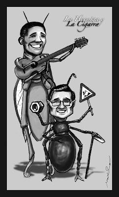 La hormiga y la cigarra ilustracion satira de Barack Obama y Hu Jintao
