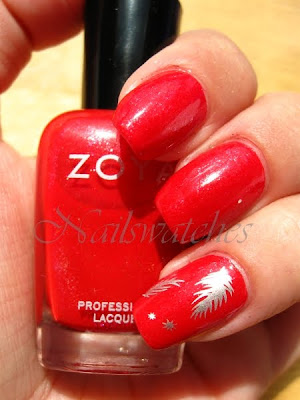 zoya nidhi red nail polish sparkles sparkle collection 2010 china glaze millennium silver konad nailart konadicure imageplate m77