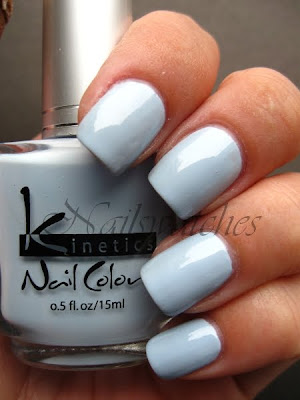 kinetics light blue grey misty creme nail polish pastel nailswatches