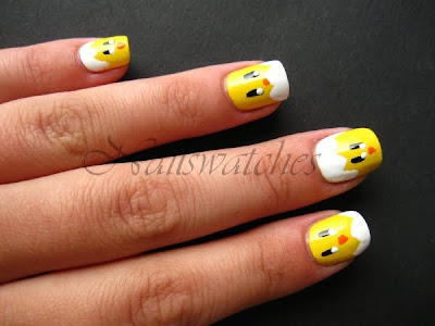 chick chicken baby nails yellow easter cute halloween eggshell egg nail polish nailswatches nailart