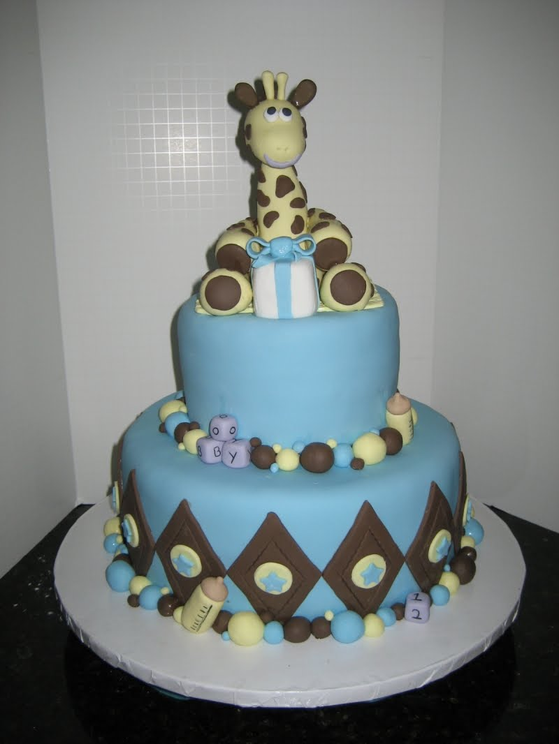 Lots of blue for a baby boy shower cake.