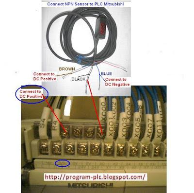 Hubungkan NPN Sensor untuk PLC Mitsubishi