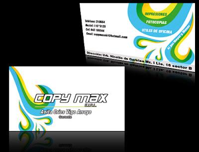 Tarjeta de Presentación de Copy Max E.I.R.L.