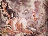 George Grosz (27 años) - Autorretrato con dos mujeres (1920)