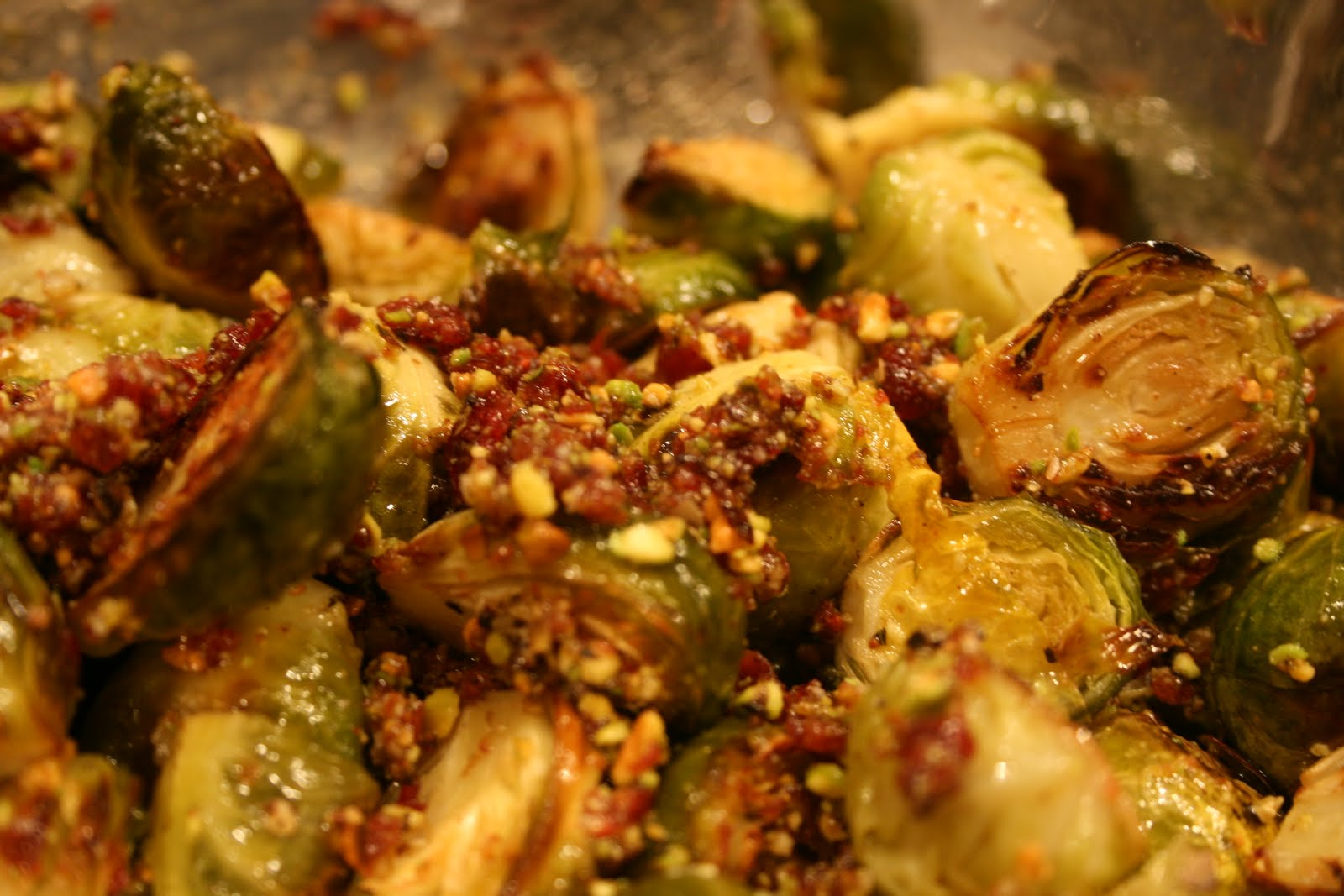 Foray into my Kitchen: Brussels Sprouts with Cranberry Pistachio Pesto