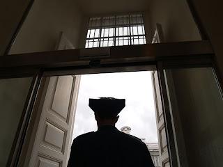 Guardia en el interior del palacio real Madrid, España Por: Xaxa
