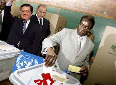 Fotomontaje de Mugabe votando
