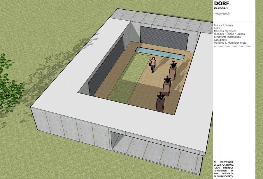 Plan maison patio interieur - Plan d interieur de maison ...