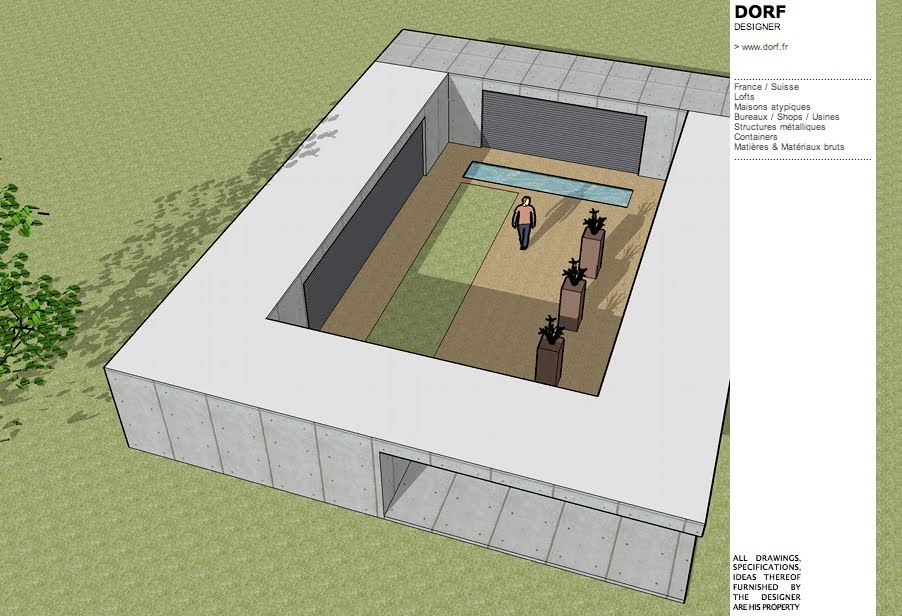 Plan de maison en u avec patio for Plan maison contemporaine en u