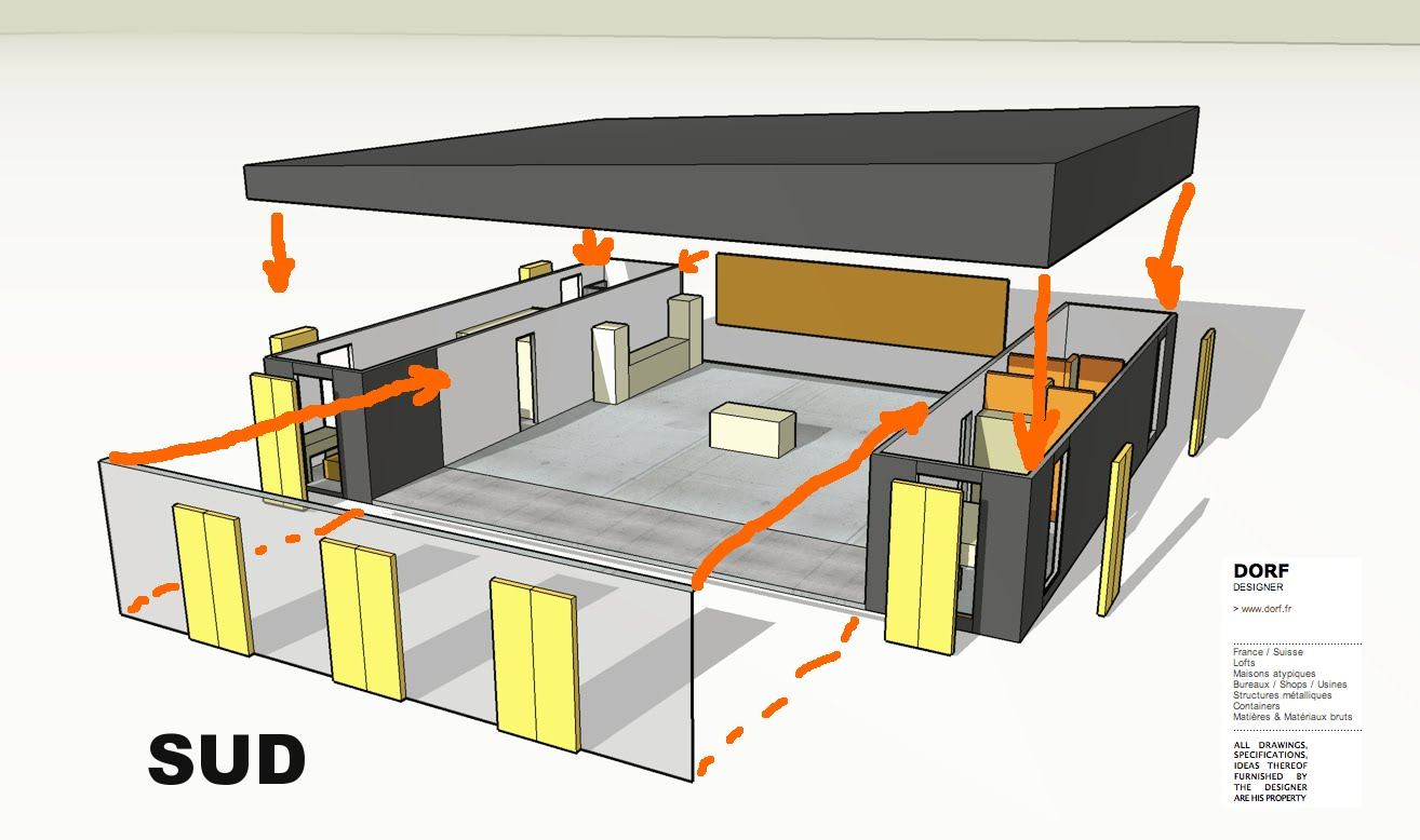 Plan maison 100m2 3 chambres for Plan de maison container